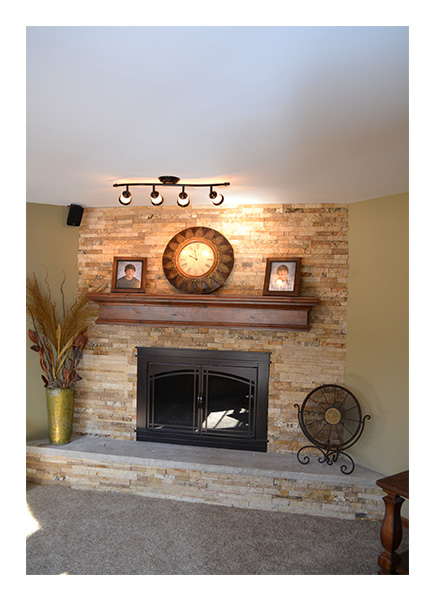 Basement Stackstone Fireplace Installation, Chicago Area - JW Construction & Design Services