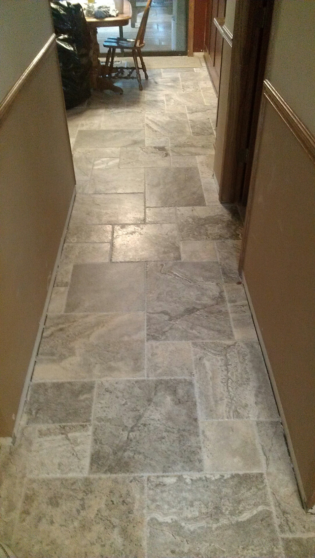 Travertine Flooring In Kitchen Kitchen Foyer Powder Room Remodel