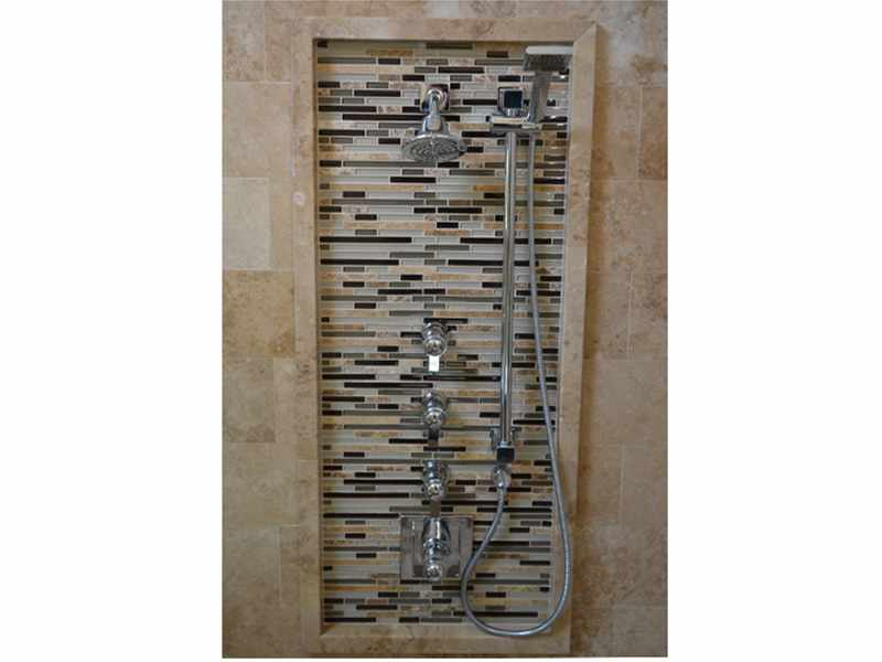 Water Feature Wall in a Naperville, IL Shower - JW Construction & Design Services